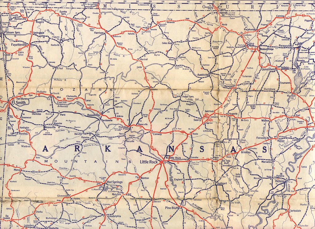 Mobil Road Map Detail Of Northern Arkansas Jasperdo Flickr - Antique road maps