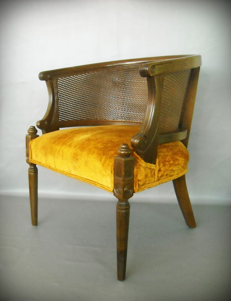 ... Vintage French Hollywood Regency Lounge Cane Chair Solid Wood Carved  Paris Apartment Barrel Back | By