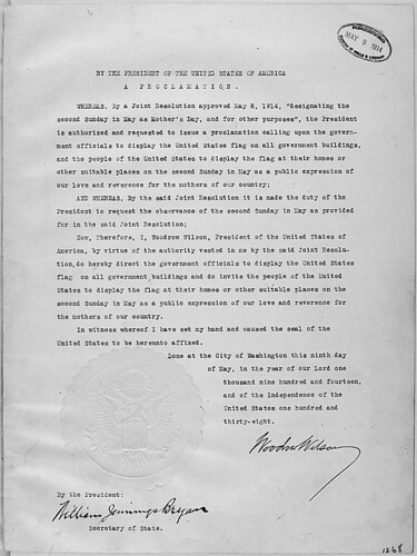 President Woodrow Wilson's Mother's Day Proclamation of May 9, 1914 (Presidential Proclamation 1268)., 05/09/1914 - 05/09/1914 | by The U.S. National Archives
