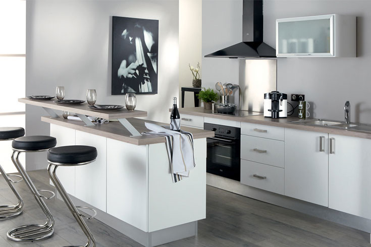 Cuisine équipée blanche - Modèle design mat Monza | La cuisi… | Flickr