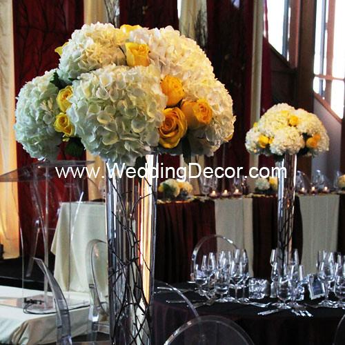 White Hydrangea & Yellow Rose Wedding Centerpieces | Flickr