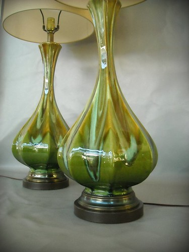 Vintage Mid Century Lamp Pair Ceramic Drip Glaze Lava Gree