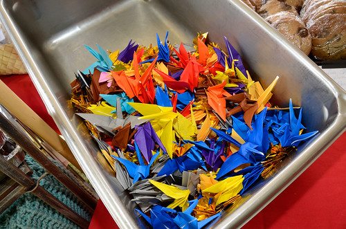Origami Cranes at the Maui Bake Sale for Japan table at #MauiAgFest | by Slow Food Maui