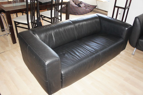 Ikea klippan black leather 3 seat sofa canape klippan d for Ikea sofas en cuir