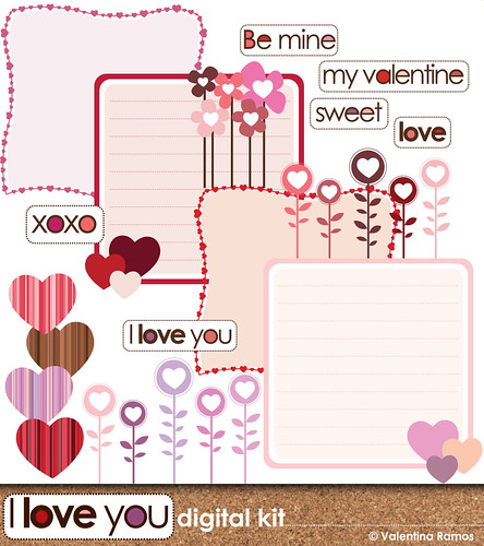 I Love You, Digital Scrapbook kit | by valentinadesign