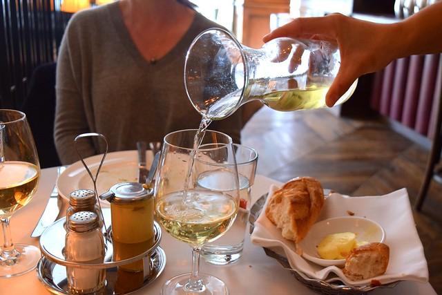 Carafe of Chardonnay at Cafe Monico, Soho | www.rachelphipps.com @rachelphipps
