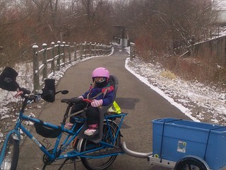 eMundo with trailer, bar mitts on greenway | by Mark Stosberg