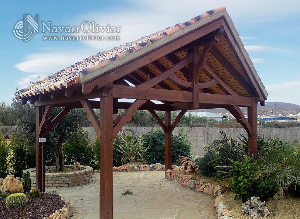 cenador de jardn a 2 aguas by navarrolivier estructuras de madera pergolas y