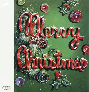 Vintage Christmas Card by Whitman ~ Front of *C* | by Pixel Packing Mama