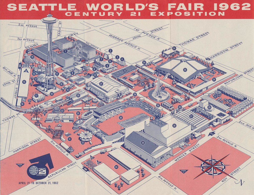 Seattle Worldu0027s Fair 1962 Map of North