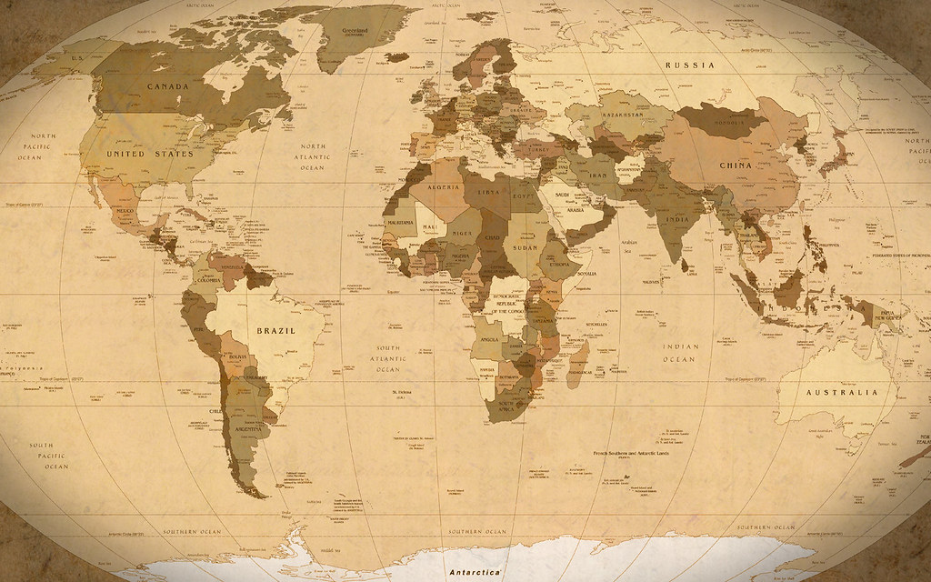 World Map Parchment Wallpaper 1920x1200