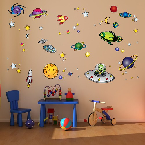 Outer space theme wall your child will love his room for Outer space decor
