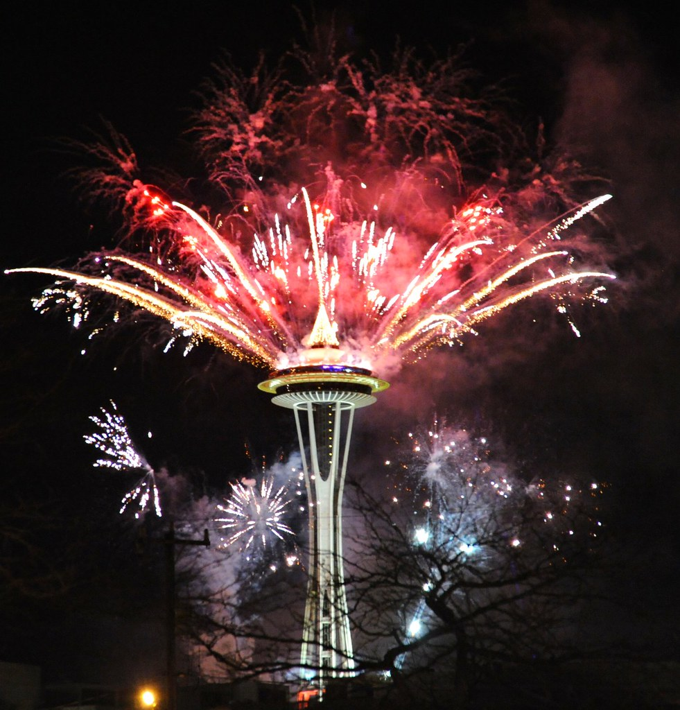 happy new year seattle space needle washington usa by