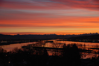 Sunrise over Fraser River as seen from New Westminster, British Columbia, Canada | by Speck in Time