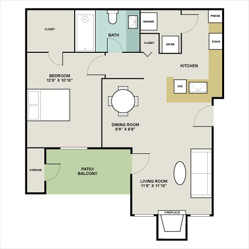 Signature Pointe Apartments: Signature Point Apartments Genoa Floor Plan