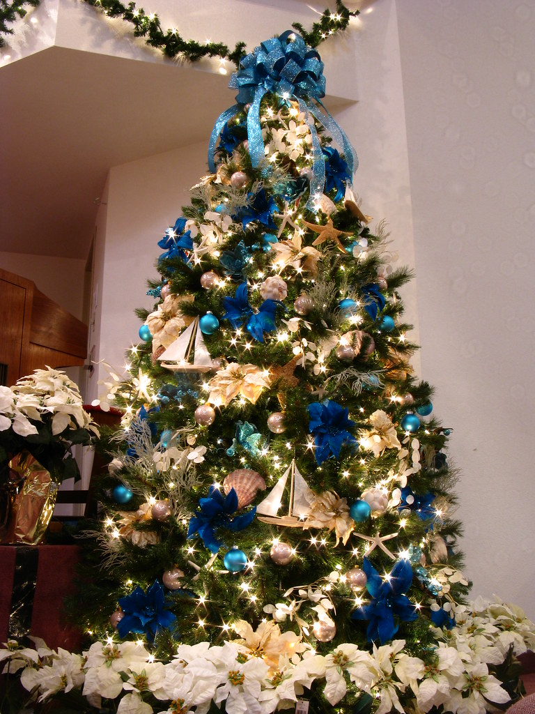 blue ocean themed christmas tree by mastery of maps - Coastal Themed Christmas Decorations