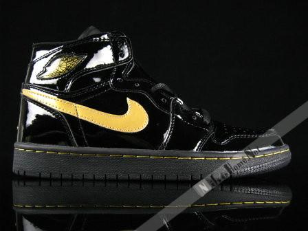 Nike Air Jordan I En Cuir Verni Rétro Or Noir 2003
