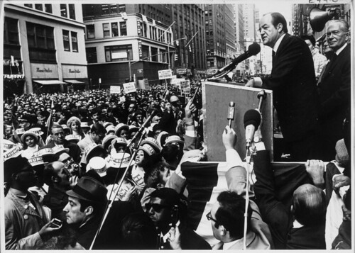 Louis Stulberg looks on as Hubert H. Humphrey gives a speech during his November 15, 1968 presidential campaign. | by Kheel Center, Cornell University Library