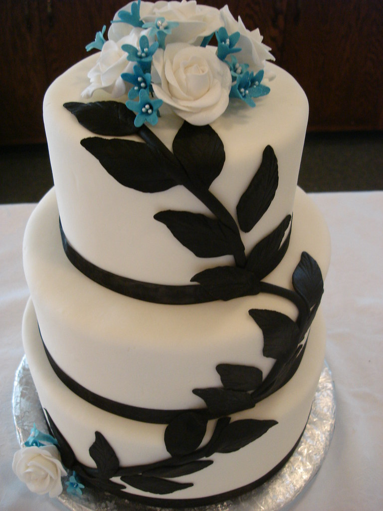 Black Blue Floral Wedding Cake See more great cakes and Flickr
