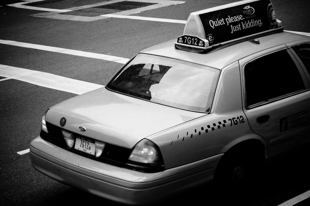 Nyc yellow cab in black white by ugod