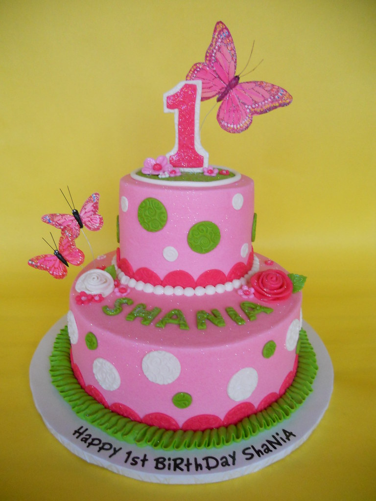 Butterfly 1st Birthday Cake I love this cakeit came tog Flickr
