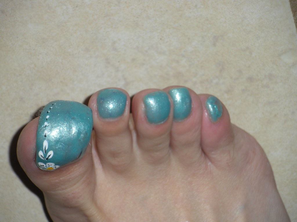 very long toenails blue with flowers | Flickr - photo#39