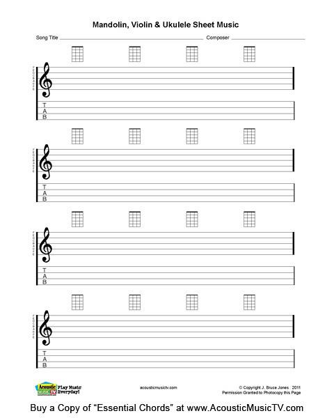 Essential Chords Mandolin And Ukulele Blank Sheet Music Flickr