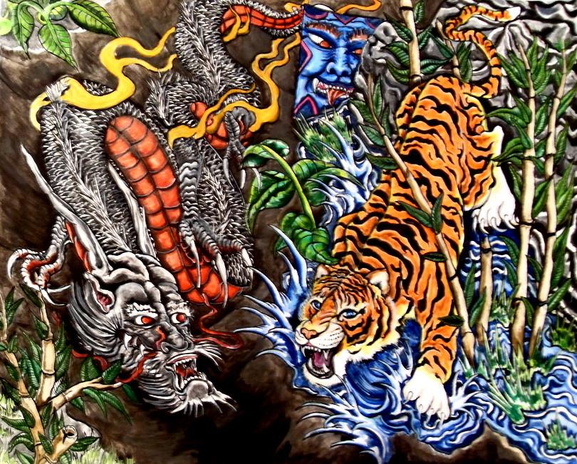 Dragon Vs Tiger Dragon Tiger Tattoo Painting David Davis Flickr