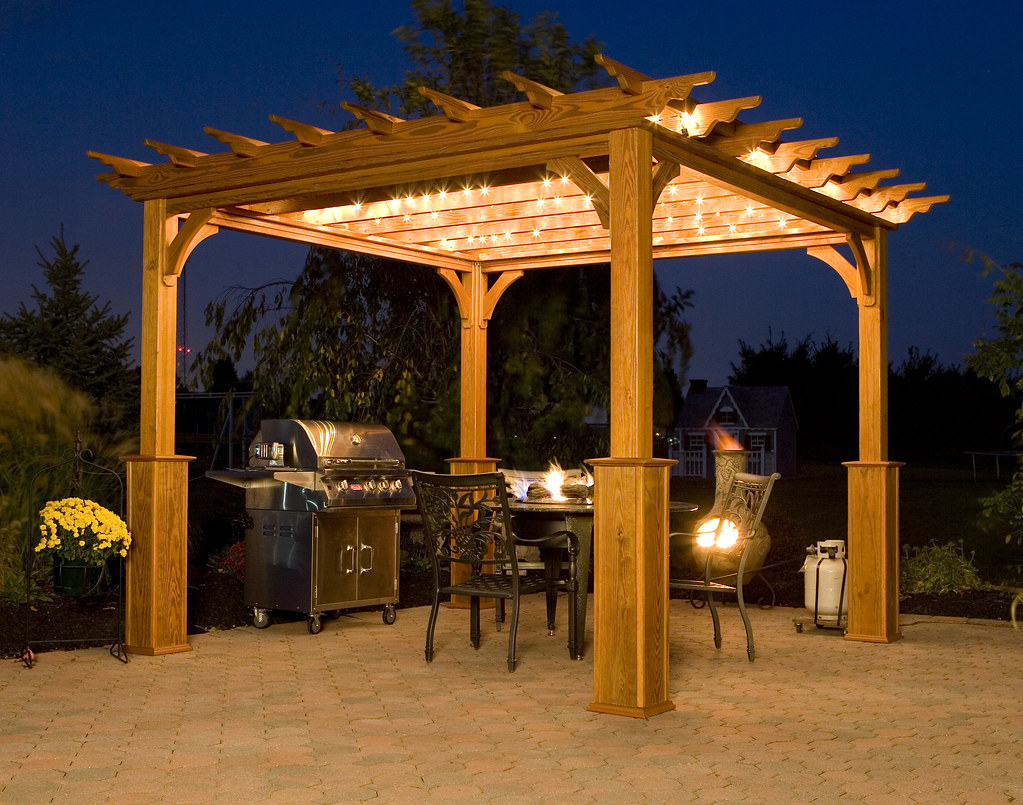... FifthroomMarkets Pergola on Patio at Night | by FifthroomMarkets - Pergola On Patio At Night 10' X 10' Deluxe 4-Beam Treated … Flickr