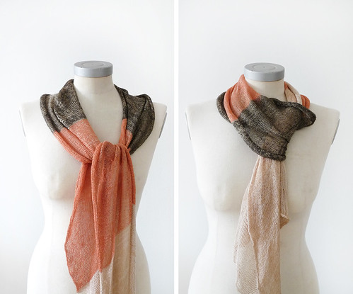 viscose cotton spring scarf -beige orange and brown | by nitca