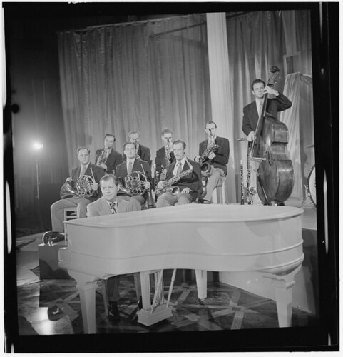 [Portrait of Claude Thornhill, Sandy Siegelstien, Willie Wechsler, Micky Folus, Joe Shulman, Mario Rullo, Danny Polo, Lee Konitz, and Bill Bushing, Columbia Pictures studio, the making of Beautiful Doll, New York, N.Y., ca. Sept. 1947] (LOC) | by The Library of Congress