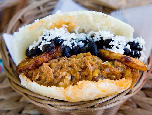 Arepa pabellon (shredded beef, plantains, beans), Arepera Guacuco | by gsz