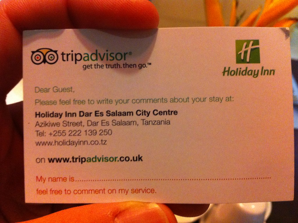 Holiday Inn Dar es Salaam asking for TripAdvisor.com Revie…   Flickr