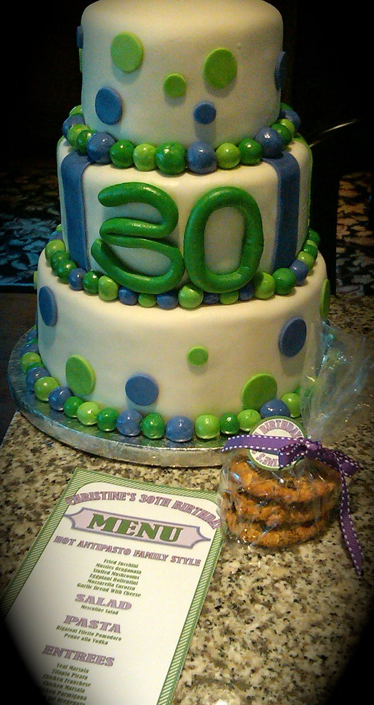 30th Birthday 3 Tiered Fondant Cake With Oatmeal Raisin Cookie Favor