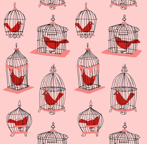 Birdcage pattern red + pink | by Alanna Cavanagh