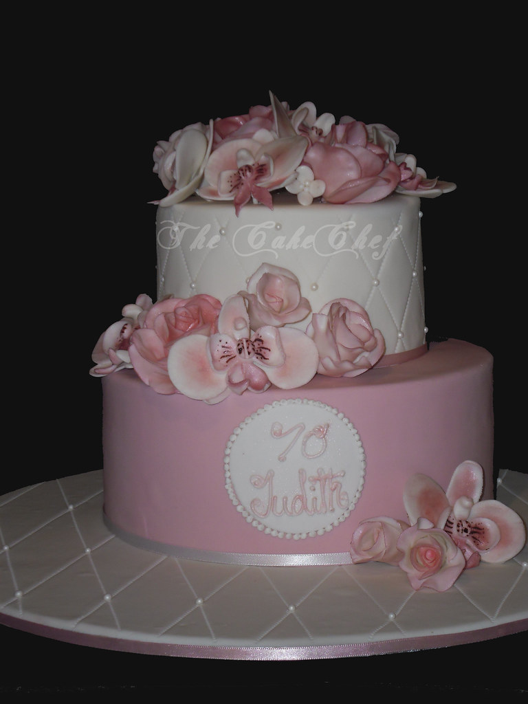 70th Birthday Cake Dusky Rose Colour With Sugar Roses O Flickr