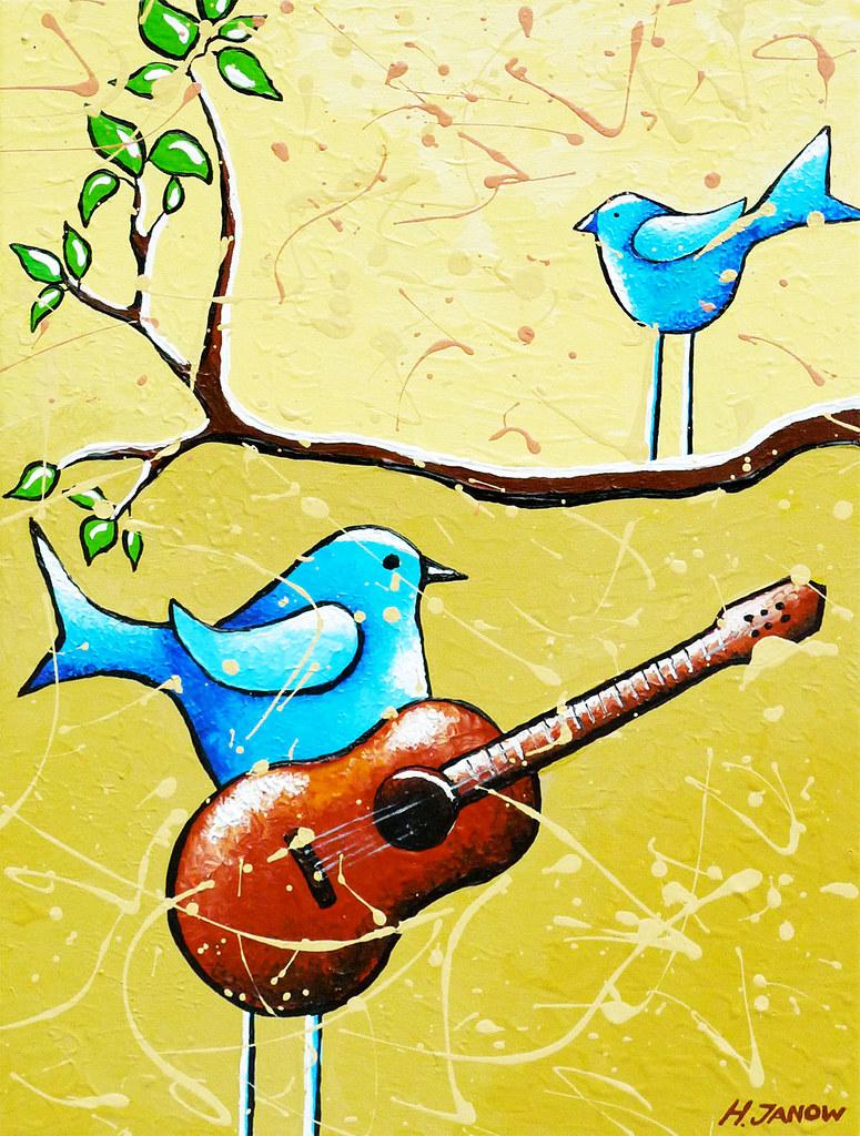 Blue Bird Painting Original Whimsical Folk Wall Art - Rome… | Flickr