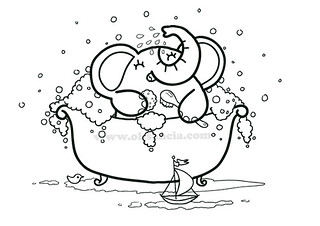 Bath time coloring page from rondy the elephant first pr for Bath time coloring pages