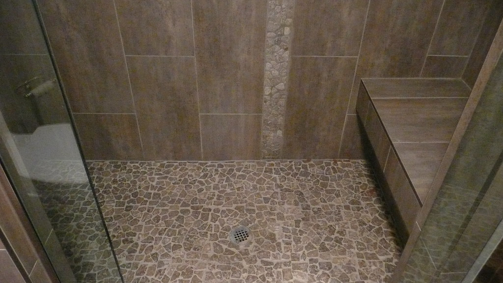 Large Format Porcelain Tile With Stone Mosaic Floor And Ac Flickr