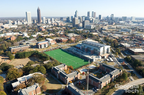Campus Recreation Center (CRC) and downtown skyline | by Georgia Tech
