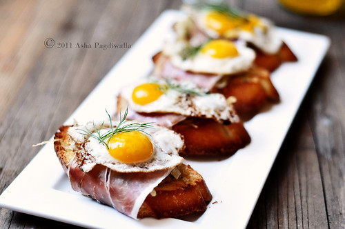Caramelised Fennel, Serrano Ham and Fried Quail Egg Brunch Bruschetta | by Asha Yoganandan