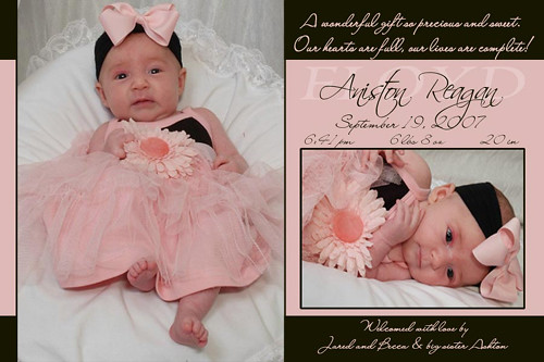 Peach Black Baby Girl Birth Announcement Peach Black Baby – Announce Birth of Baby Girl