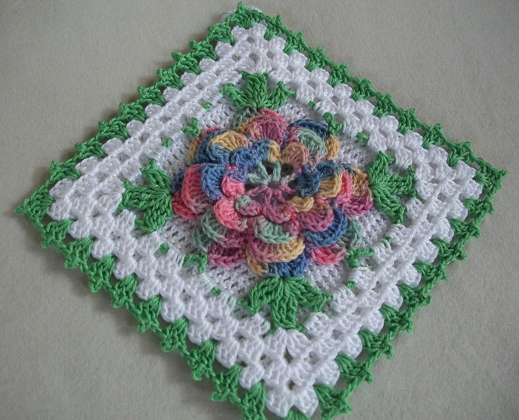 Crochet Potholder In Thread With Pastel Rose Flower Ne Flickr