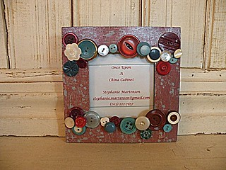 Garnet and turquoise vintage button frame | by OnceUponChinaCabinet