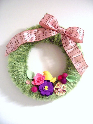 Sweet Peep Handmade Yarn Wreath | by Goodie True Shoes