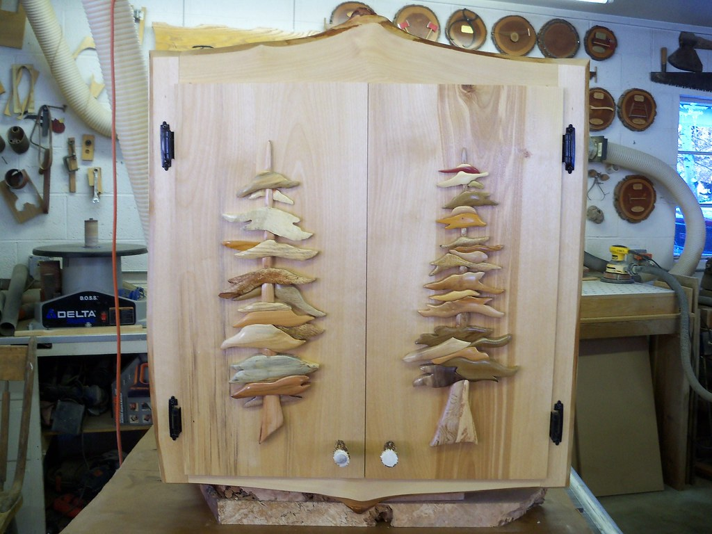 ... Intarsia Trees Cabinet With Deer Antler Knobs | By Wildlife In Wood