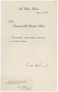 Nomination of Frances Perkins as Secretary of Labor, 03/04/1933 | by The U.S. National Archives