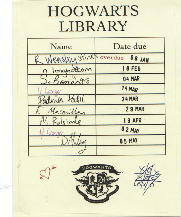Hogwarts Library Card  Hogwarts Library Card This Borrowin  Flickr