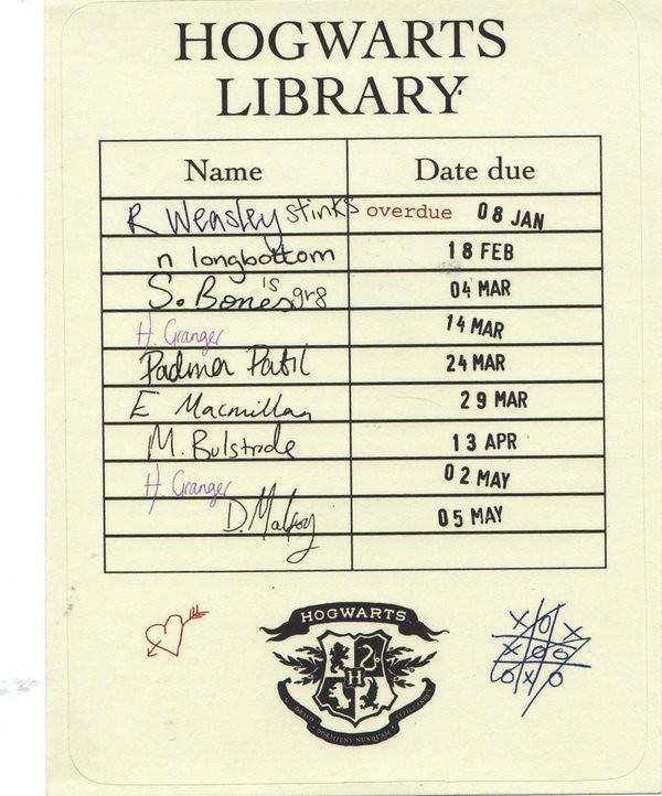 Hogwarts Library Card  Hogwarts Library Card This Borrowin  Flickr