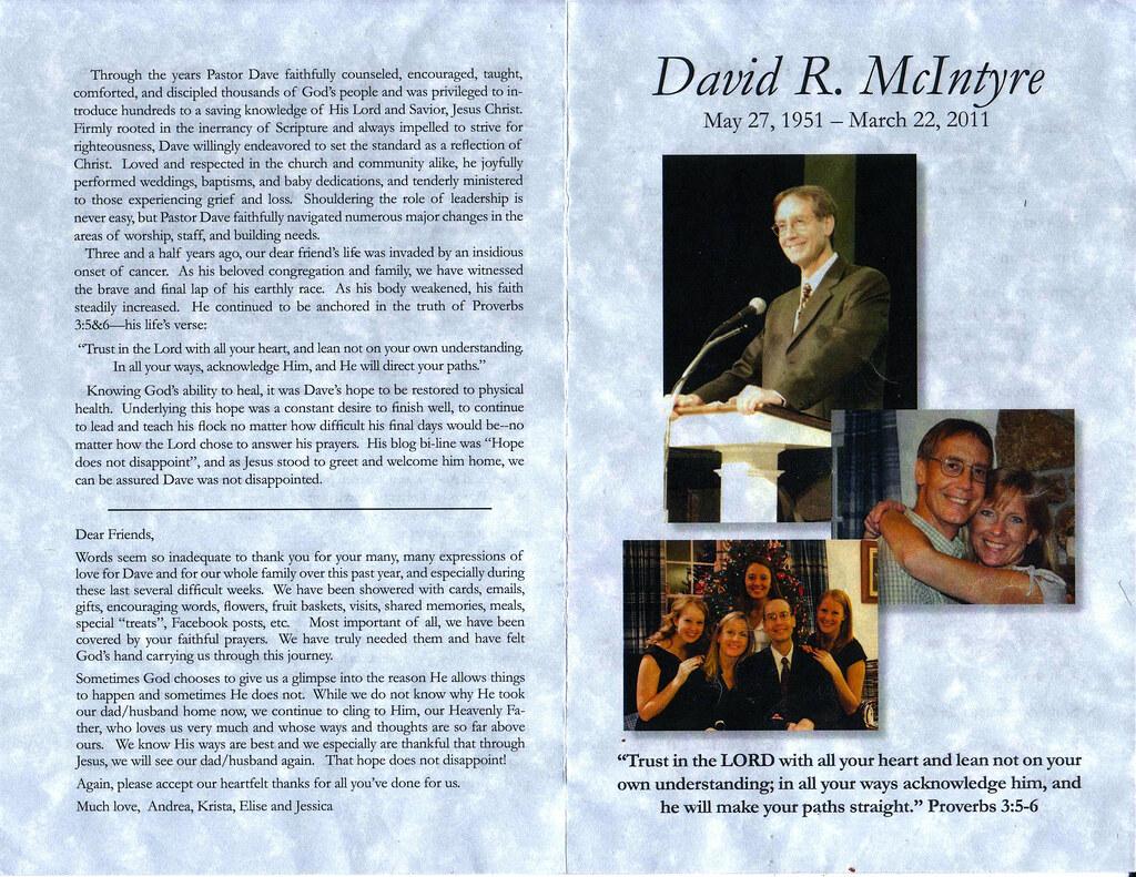pastor dave mcintrye s funeral program outside the progr flickr